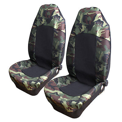 Universal 2pcs Camouflage Car Front Seat Covers SUV High Back Bucket Protector ()