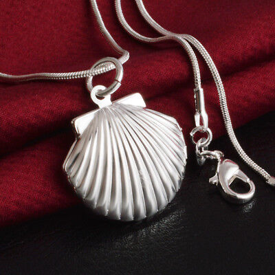Women 925 Sterling Silver Conch Sea Shell Photo Locket Pendant Necklace Jewelry