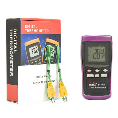 Digital Industrial K-type Thermocouple Thermometer Hvac W. 2 Wire Probes Dt1312
