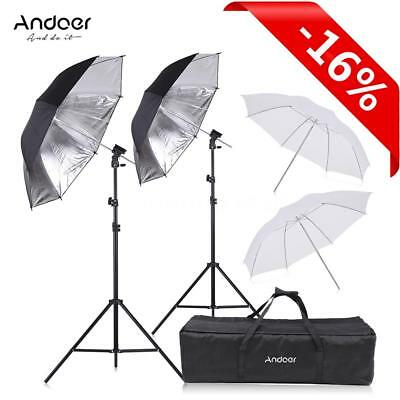 Double Video Flash Speedlight Shoe Mount Soft Umbrella Kit 2*2m Light Stand Bag