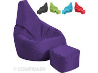 Purple Bean Bag Foot stool Gamer Beanbag Indoor Outdoor Gaming Garden Arm Chair Seat