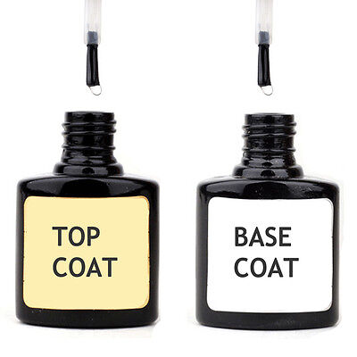 TWIN BOTTLE TOP & BASE COAT UV NAIL GEL Soak Off Professional Polish Art Kit Led