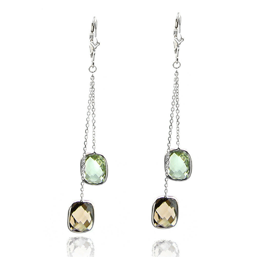 14k white gold dangle earrings with smokey topaz and green. Black Bedroom Furniture Sets. Home Design Ideas