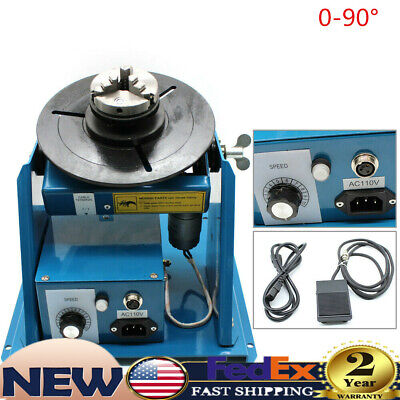 Rotary Welding Positioner 0-90 Turntable Table Welder Bench 3 Jaw Lathe Chuck