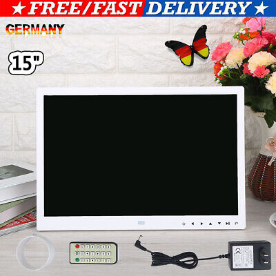 """15"""" HD TFT LED Digitaler Bilderrahmen Bild MP3/4 Musik Player Screen Touch Weiß"""