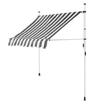 B-Ware Klemmmarkise Weiß/Grau 150cm