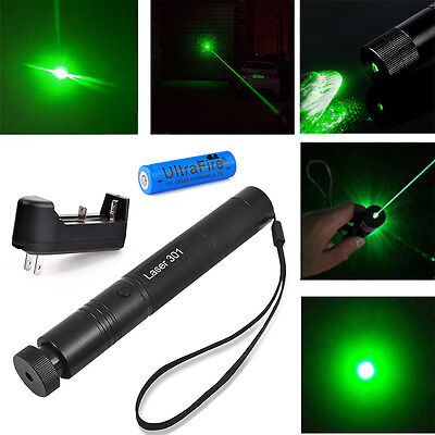 Military 532nm Green High Power Laser Pointer Pen Burning Beam + 18650&Charger