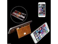 Pierre Cardin real Leather Wallet case for iPhone 6 and iPhone 6Plus /black/brown
