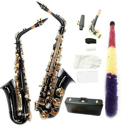 New Black Alto Eb Sax Saxophone Gold w/ Case Tuner Accessories Band & Orchestral
