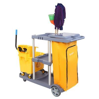 Commercial Traditional Janitorial 3-shelf Cart Wheeled Zippered Yellow Vinyl Bag