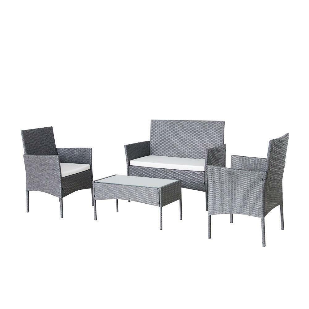 Garden Furniture - Rattan Garden Patio Furniture 4PC Set Outdoor-2 Chairs1 Sofa & Table UK SELLER