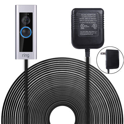6m/19.6ft Cord Power Supply Adapter for The Ring Video Doorbell 1/2/Pro US Plug
