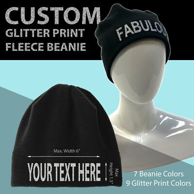 Fleece Print Beanie (Custom Printed Fleece Beanie - Your Text - Glitter Print - Personalized Cap)