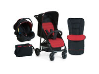 BRAND NEW IN BOX HAUCK RAPID 4 TRAVEL SYSTEM BLACK RED 2 IN 1 PRAM PUSHCHAIR COSYTOES BAG