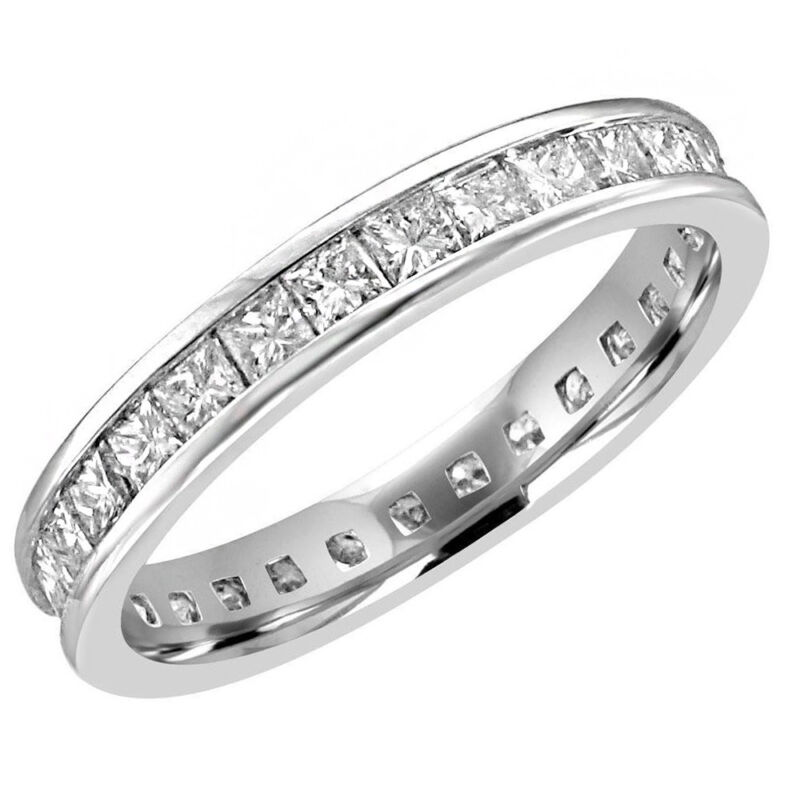 18k White Gold Princess Cut 2.50 Carat Channel Set Diamond Eternity Ring