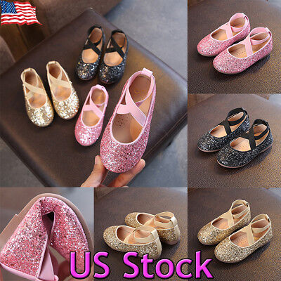 Toddler Girl Cute Princess Glitter Dress Ballet Kid Shoes Soft Ankle Party Flat