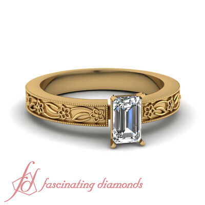 3/4 Carat Emerald Cut Diamond Solitaire Victorian Engagement Rings For Women GIA