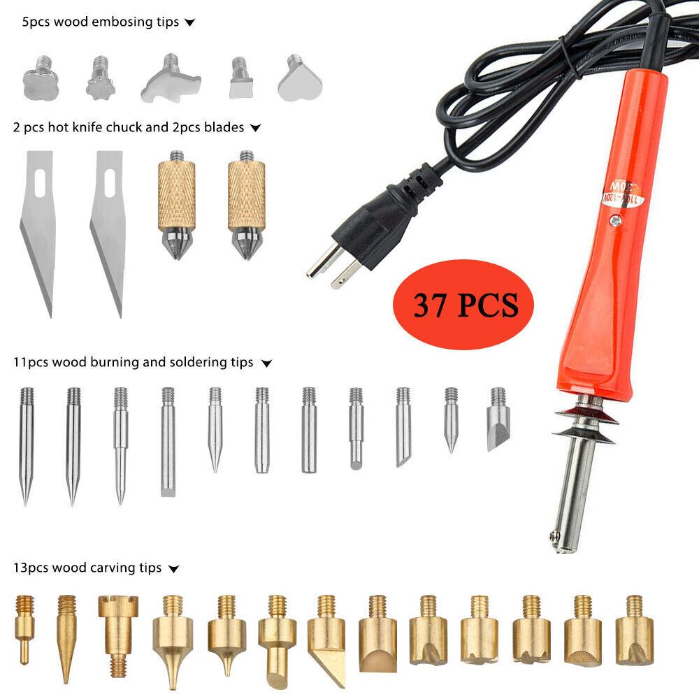 41Pcs 60W Electric Soldering Iron Welding Wood Burning Pen Pyrography Tool Set