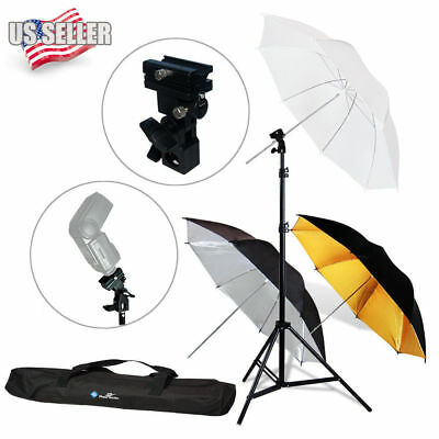 "Phtography 33""/84cm Flash Mount Reflective Umbrellas Kit  f Studio Photo-3 Color"