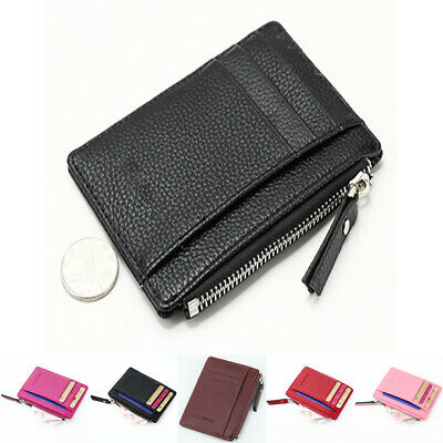 Mini Womens Men Leather Wallet Card Holder Zip Coin Key Purse Handbag Bag USA (Leather Zip Key Holder)