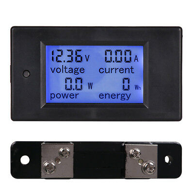 Dc 4 In 1 Digital Lcd Combo Panel Meter Volt Amp Power Watt Hour 20-100a Us Post