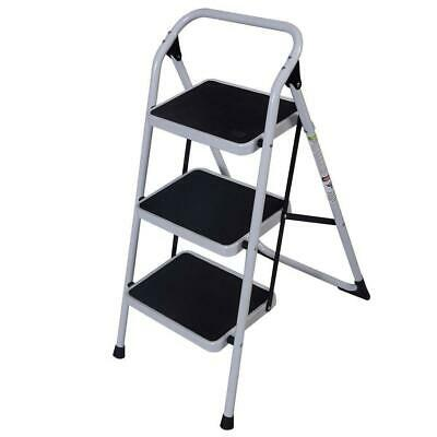 3 Steps Ladder Folding Handrails Grip Iron Step Stool Heavy