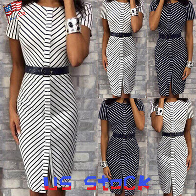 Summer Women Classic Stripe Belted Casual Pencil Dress Front Slit Tops Midi US ()