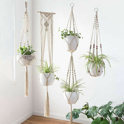 Macrame Plant Hangers Indoor Wall Hanging Planter Basket Flower Pot Holder US##