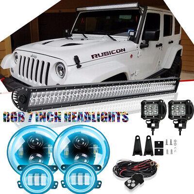 "RGB 7/"" Led Halo Headlights+Fog Lamps+52/"" Light Bar Combo Kit For Jeep Wrangler"