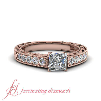 .80 Ct Princess Cut Diamond Rings Antique Inspired Pave Set In 14K Rose Gold GIA