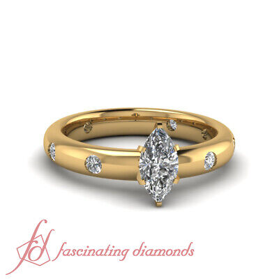 .90 Ct Marquise Cut GIA Certified Diamond Bezel Set Engagement Rings For Women