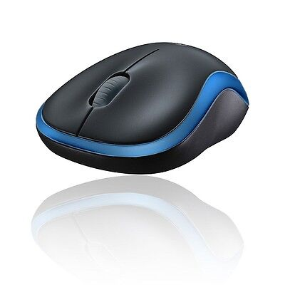 LOGITECH WIRELESS FUNK MAUS M185 MOUSE GRAU BLAU 2,4GHz USB ADAPTER inc.BATTERIE