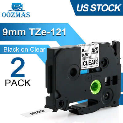 2PK TZ121 TZe-121 Compatible Brother P-Touch 9mm Black on Clear Label Maker Tape