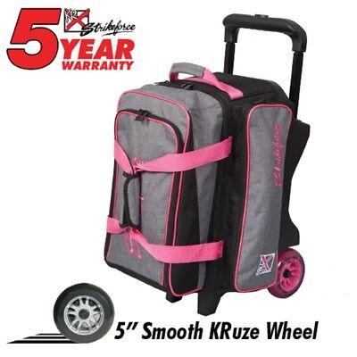 KR KRUSH Premium 2 Ball Roller Bowling Bag Color Stone Grey/Pink