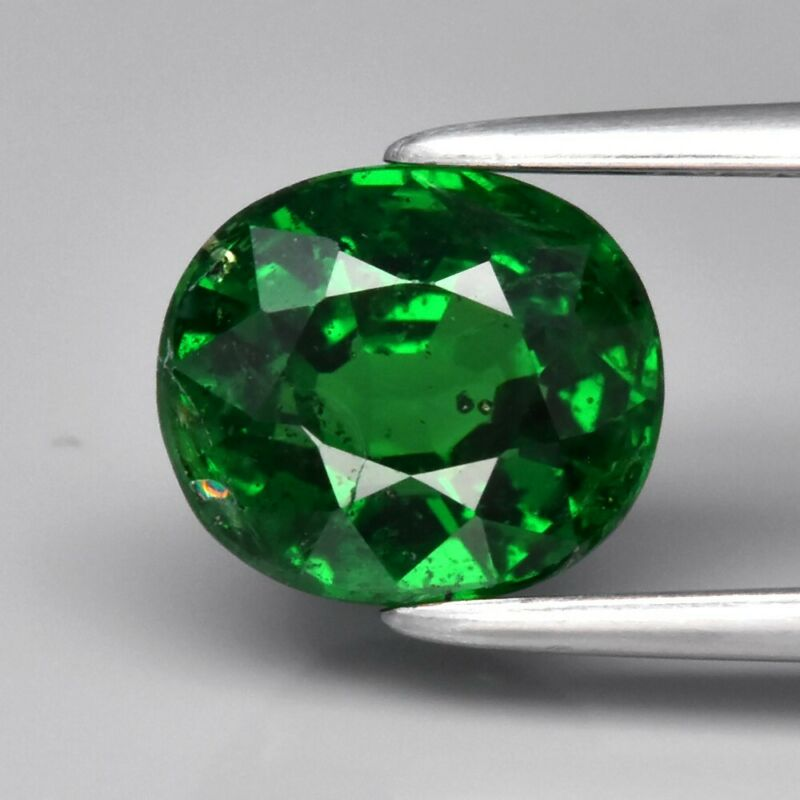 Wow! 1.89ct 7.3x6.3mm Oval Natural Shocking Green Tsavorite Garnet, Tanzania