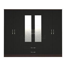 Beatrice wardrobe 4 you, 2,28m wide 6 door walnut and black wardrobe