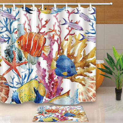 Colored coral and tropical fish Shower Curtain Bathroom Decor & 12hooks 71*71in