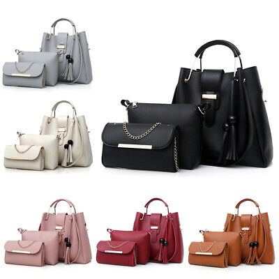 3PCS Women Lady Leather Handbag Shoulder Bag Satchel Messenger Purse Tote Set ()