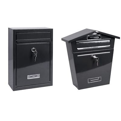 Steel Square Post Box Grey Mail Letter Lockable Keys Wall New By Home Discount ()