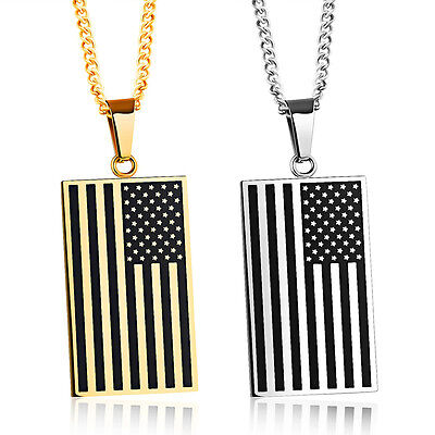 Men Stainless Steel Pendant Necklace Chain American USA Flag Dog Tag Gold Silver (Gold Dog Tag Necklace)