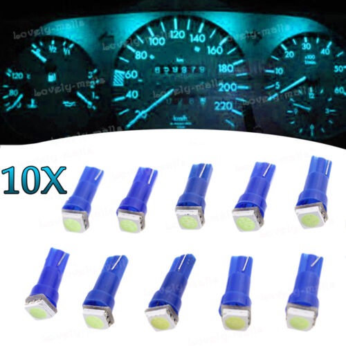 10x Pure Blue T5 73 74 W1.2W Instrument Dashboard Speedo LED Light Bulb For Jeep