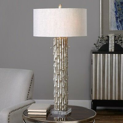 Bamboo Table Lamp Antiqued Metallic Silver Crystal Accents Modern Asian 32