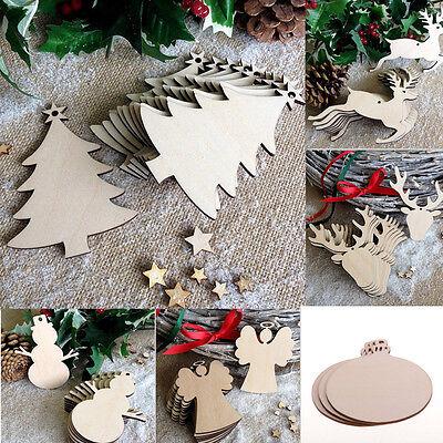 10PC Craft Wood Ornament DIY Christmas Deer Reindeer Hanging Decoration Xmas ()