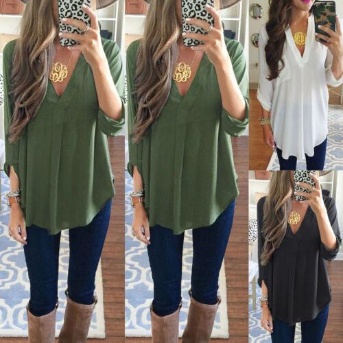 Damen Bluse Hemd  V- Ausschnitt Tunika Shirt Top 3/4 Arm Oberteile Hot T-Shirts