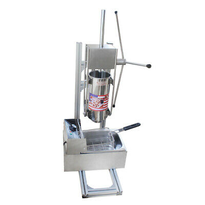 Silver Donut Churro Maker Machine 5 Nozzles 3l Vertical Manual Spanish6l Fryer
