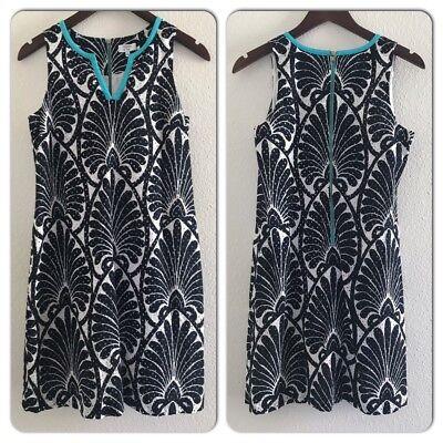 Crown & Ivy Navy White Teal Trim Eyelet Leaf Print Dress Size (Ivy Leaf Trim)
