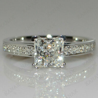 2.25 Ct Lab-created Diamond Princess Cut 14K White Gold Wedding Ring for sale  Shipping to South Africa