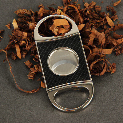 Carbon Cutter - CIGARISM Real Carbon Fiber Stainless Steel Cigar Cutter Punch Gift Box