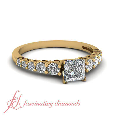 1 CARAT Yellow Gold Engagement Rings With Princess Cut Diamond VS1 GIA Certified