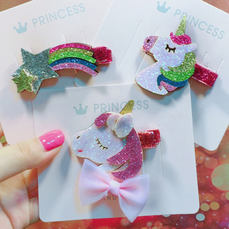 Glitter Sequins Stars Unicorns Various Designs Hair Bows//Hair Clips